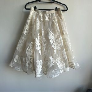 Ivory Floral Organza Skirt by Yoana Baraschi